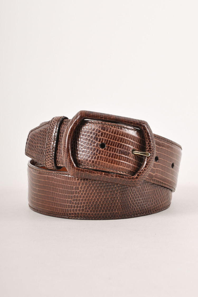 Dark Brown Lizard Skin Leather Belt SZ S