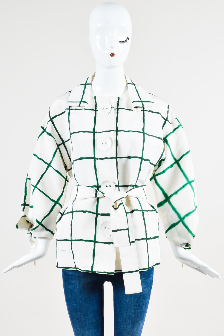 Green White Watercolor Checked Pattern Belted Silk Jacket SZ 6