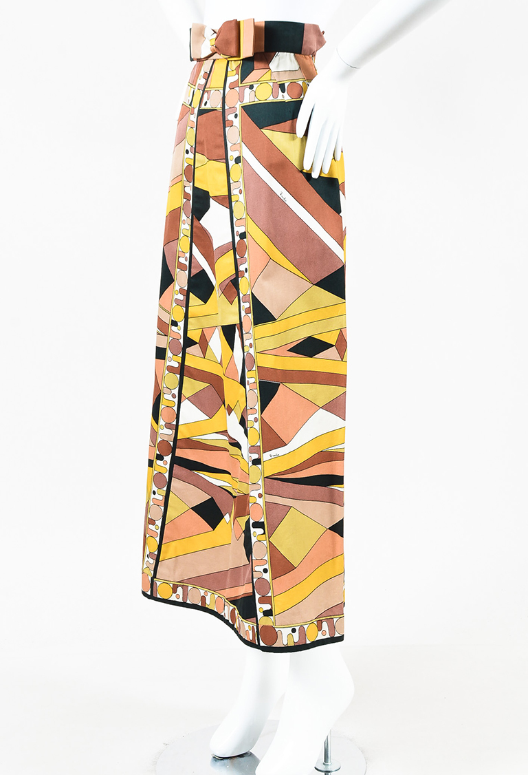 VINTAGE  Brown Yellow Black Abstract Pattern Long Cotton Skirt
