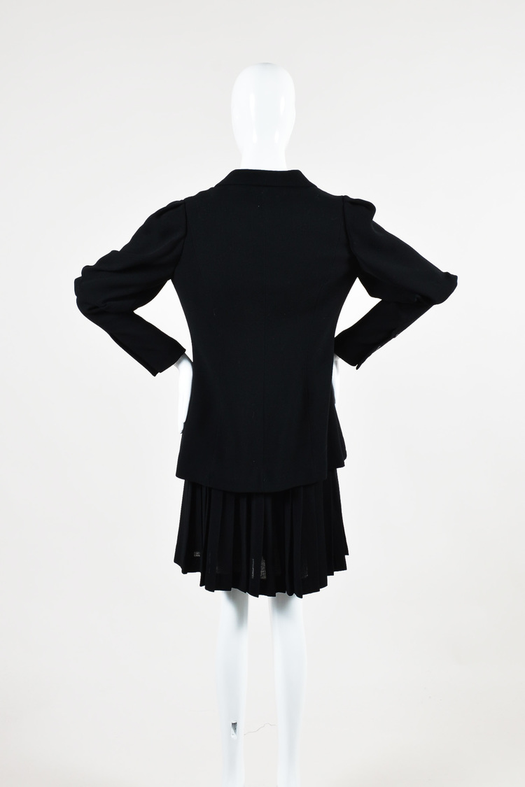 Black Juliet Sleeve Buttoned Jacket & Pleated Skirt Suit