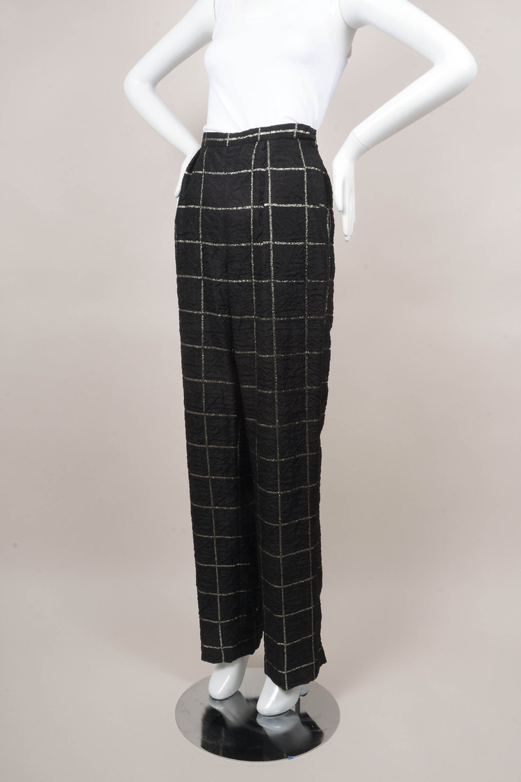 VINTAGE  Black/Silver Plaid Pants