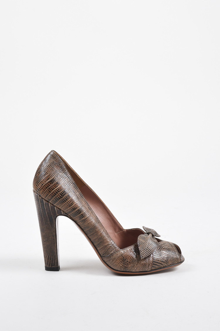 Brown Lizard Leather Peep Toe Bow Pumps SZ 39