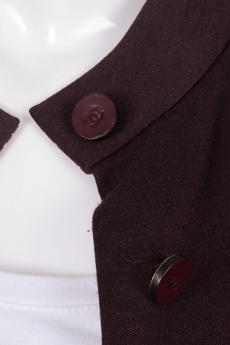CHANEL Maroon Button Front Long Sleeve Dressy Coat