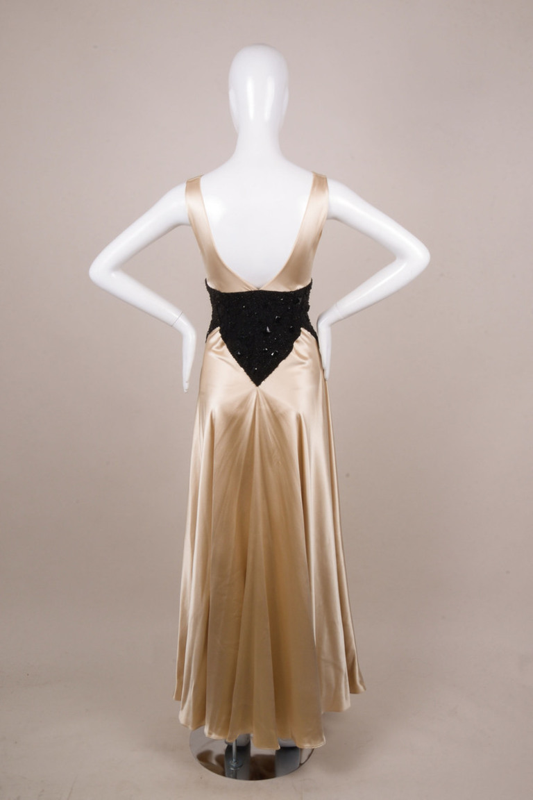 Champagne/Black Embellished Pleated Gown