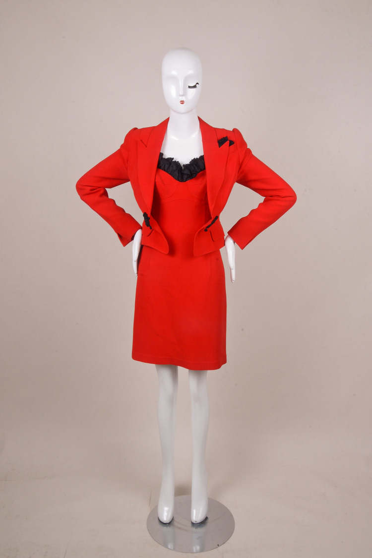 Thierry  Red/Black Ruffle Trim Dress Suit