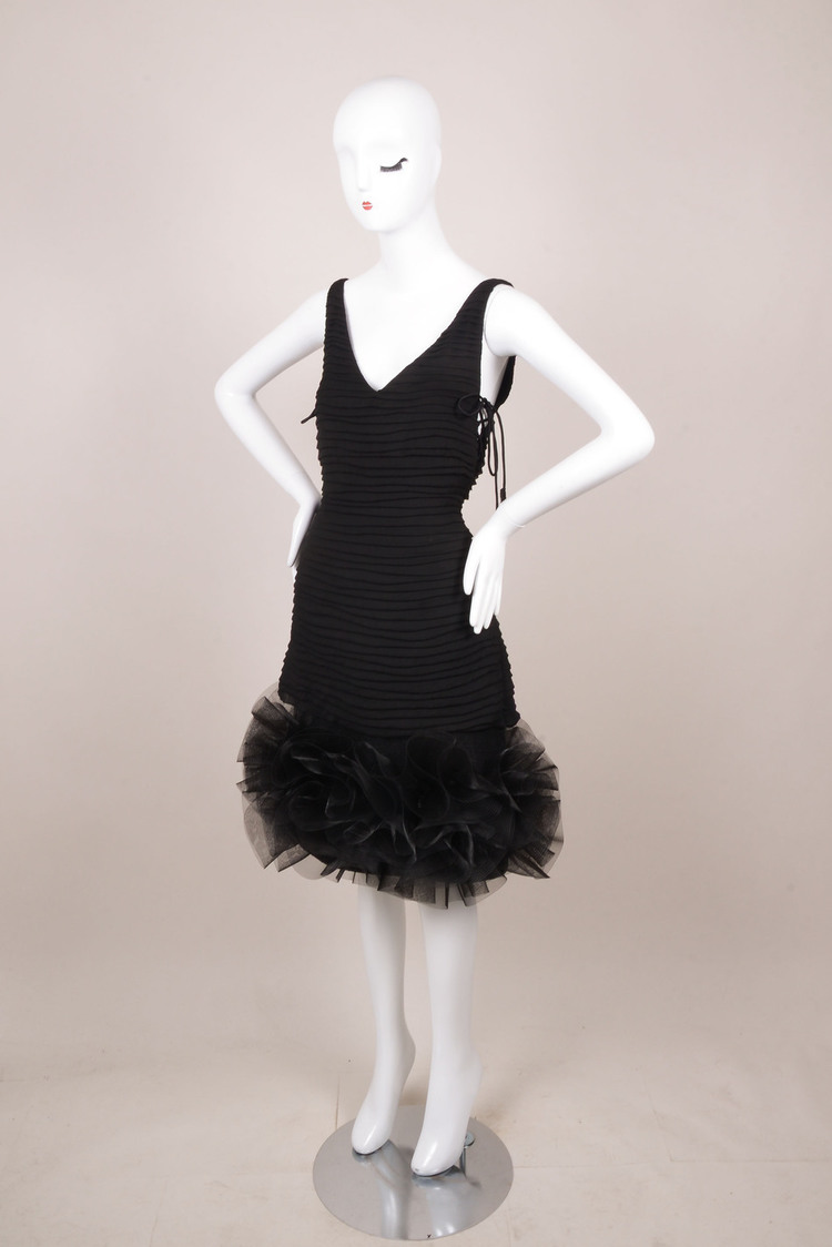 Black Silk Pleated Sequin Structure Ruffle Cocktail Dress SZ 8