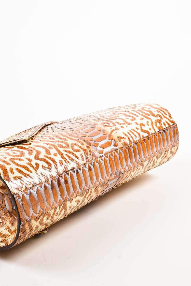NWOT Multi-Brown Animal Print Python Leather Large Clutch