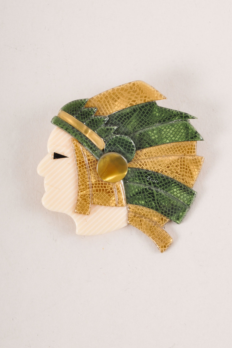 VINTAGE  Gold-Tone/Green/Cream Acetate Indian Man Head Brooch