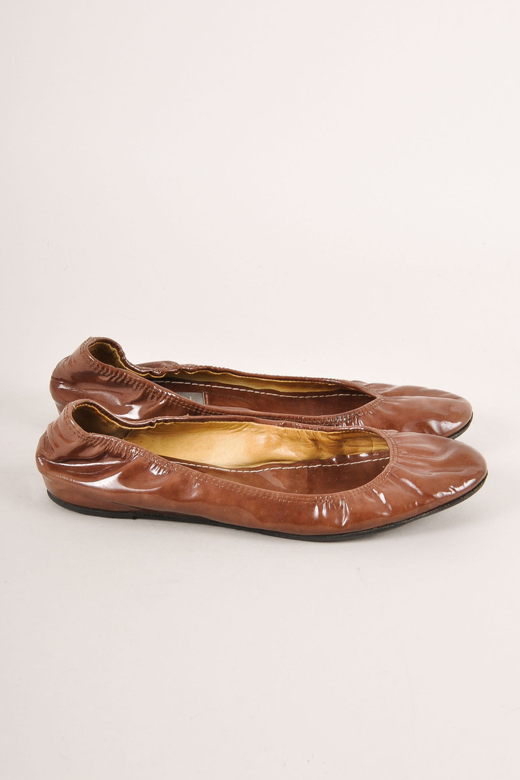 Brown Patent Leather Elastic Trim Ballet Flats SZ 37