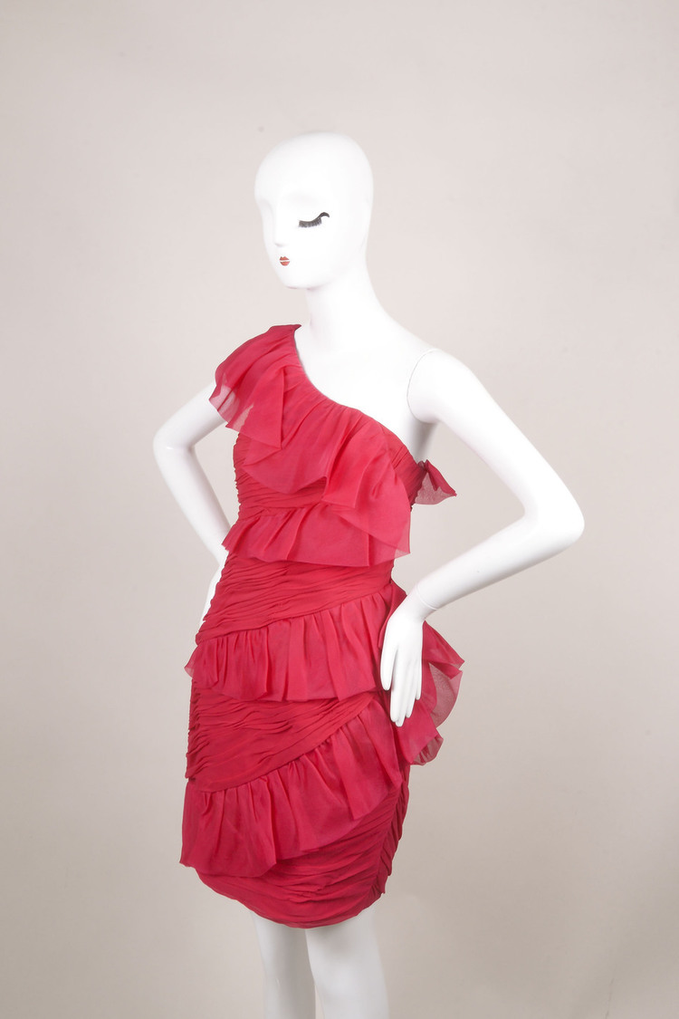 Notte Pink Silk Ruffle Ruched One Shoulder Cocktail Dress SZ 4