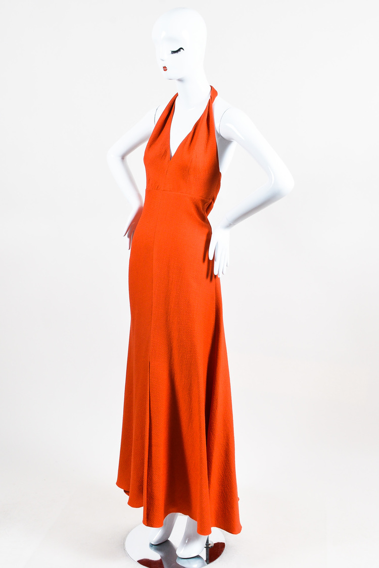 Orange Silk Wool Blend Halter Full Length Maxi Dress SZ 10