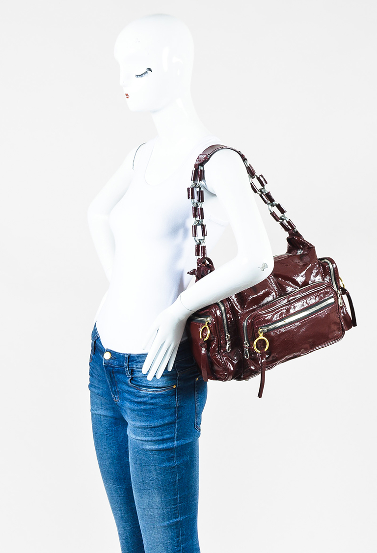 "Burgundy Red Patent Leather Zip Pocket Chain Strap ""Betty"" Shoulder Bag"