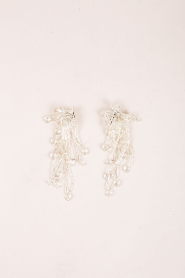 VINTAGE Iridescent Faux Crystal Cluster Tassel Clip On Earrings