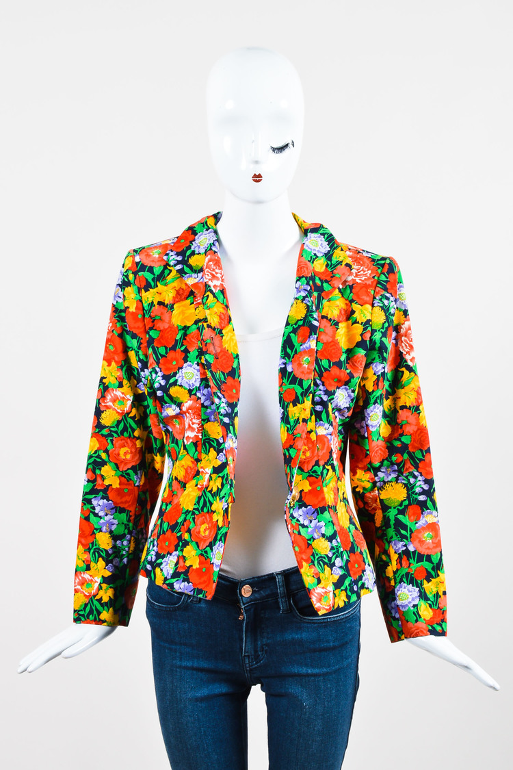 VINTAGE Yves  Multicolor Fitted Floral Print Blazer SZ 40