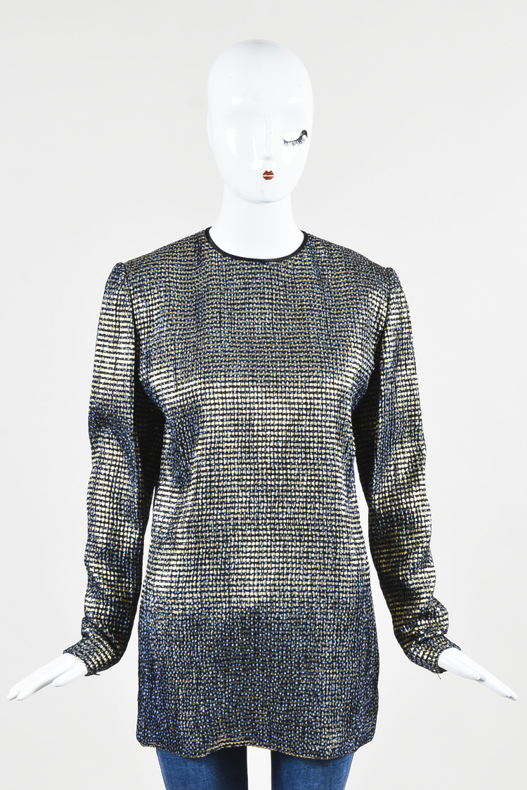 VINTAGE Navy Blue Gold Metallic Patterned Long Sleeve Tunic Top