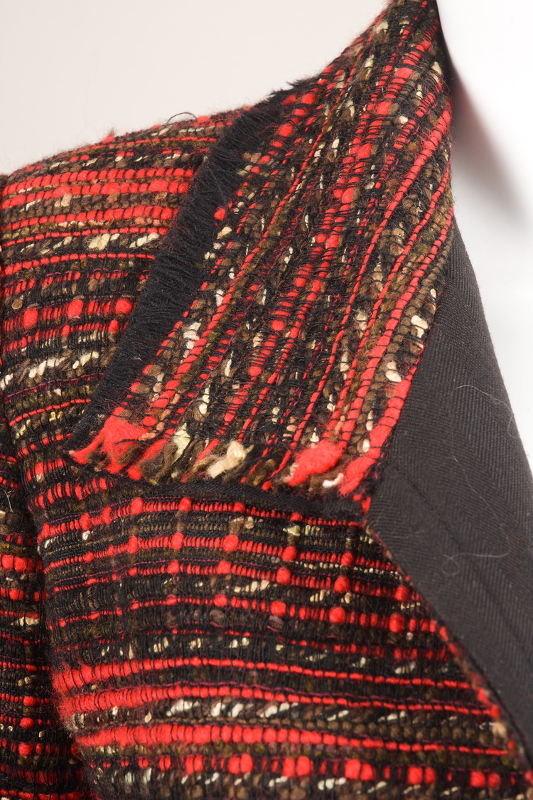 Red Black Tweed Blazer Jacket SZ 4