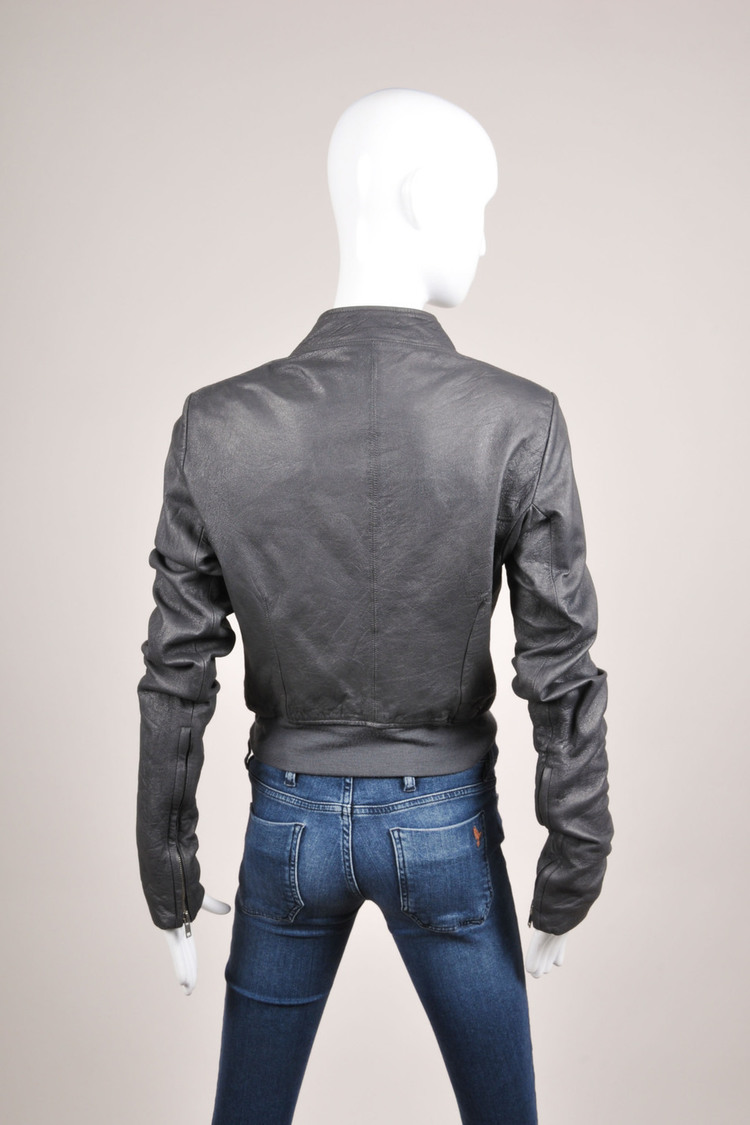 Gray Blue Slanted Zip Long Sleeve Leather Bomber Jacket SZ 8