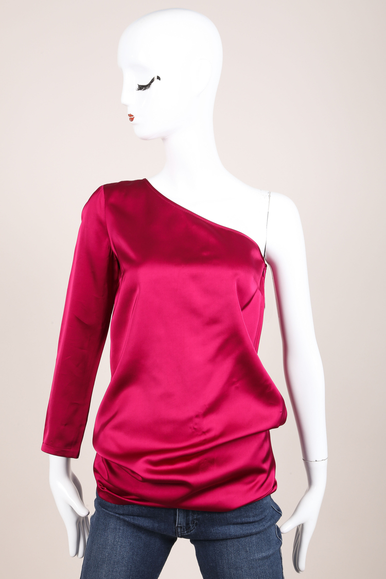 Magenta Silky One Shoulder Long Sleeve Top SZ 38