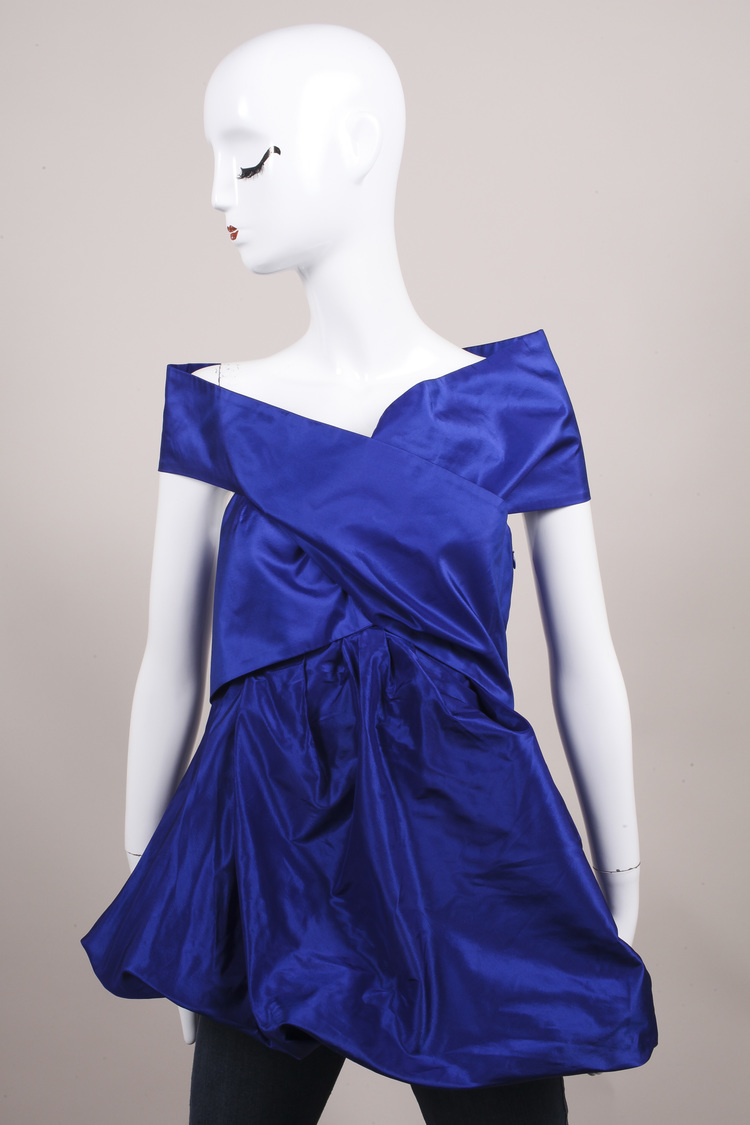 "$1450 ""Lapis"" Blue Silk Taffeta Turban Draped Empire Top SZ 4"