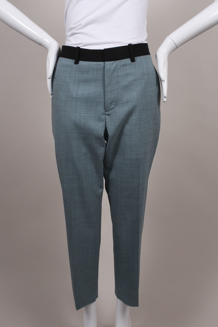 "NWT Blue Black Wool ""Francine"" Ankle Trousers SZ 38"