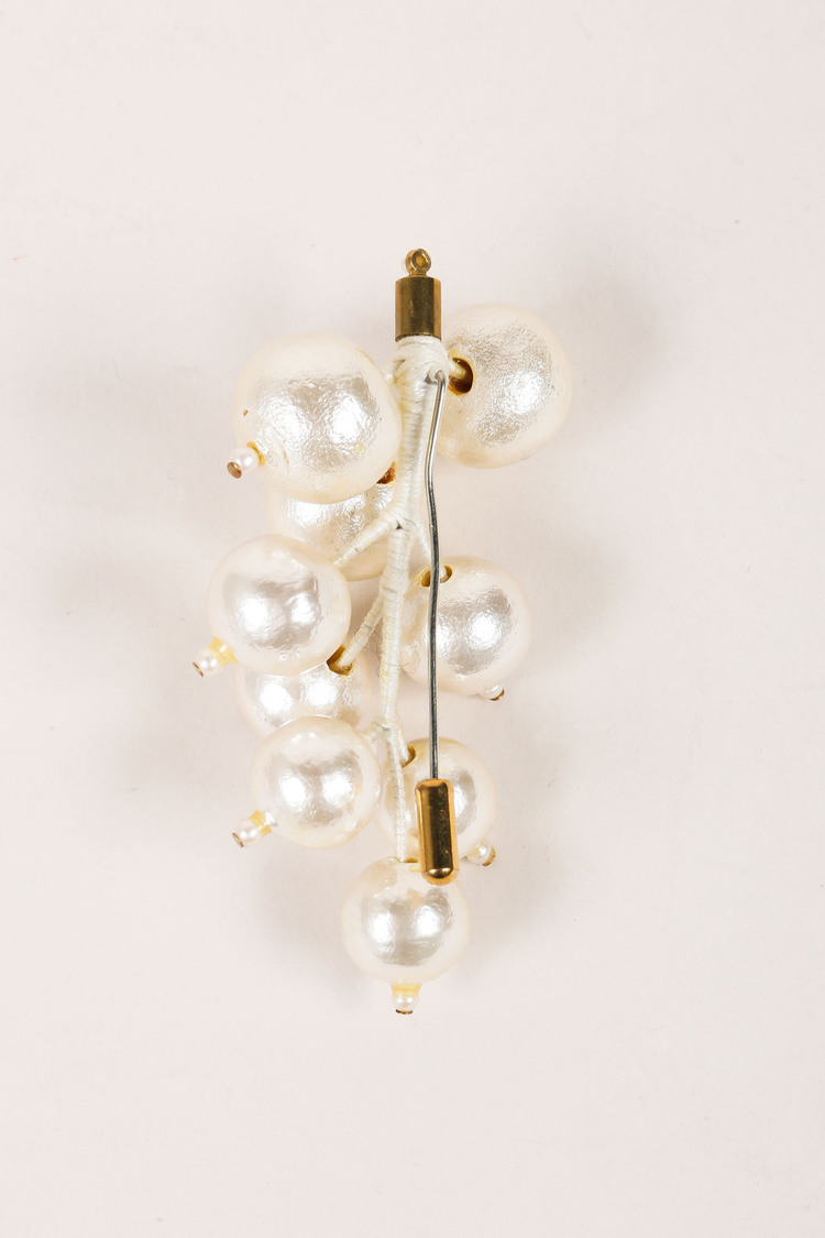 VINTAGE Faux Pearl Metallic Painted Oversized Cluster Pin