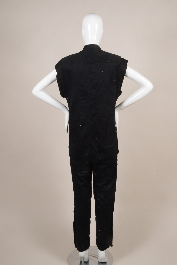 Black Knit Sequin Beaded Embellished Sleeveless Jumpsuit SZ 36