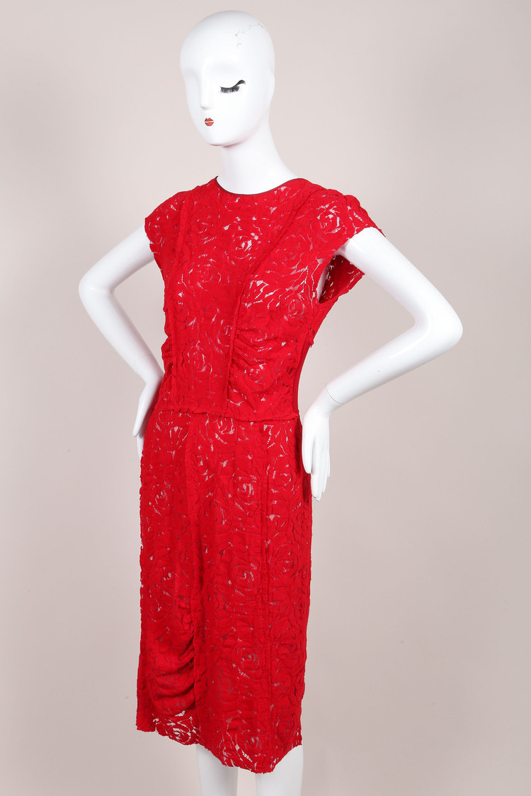 Red Floral Lace Sleeveless Dress SZ 42