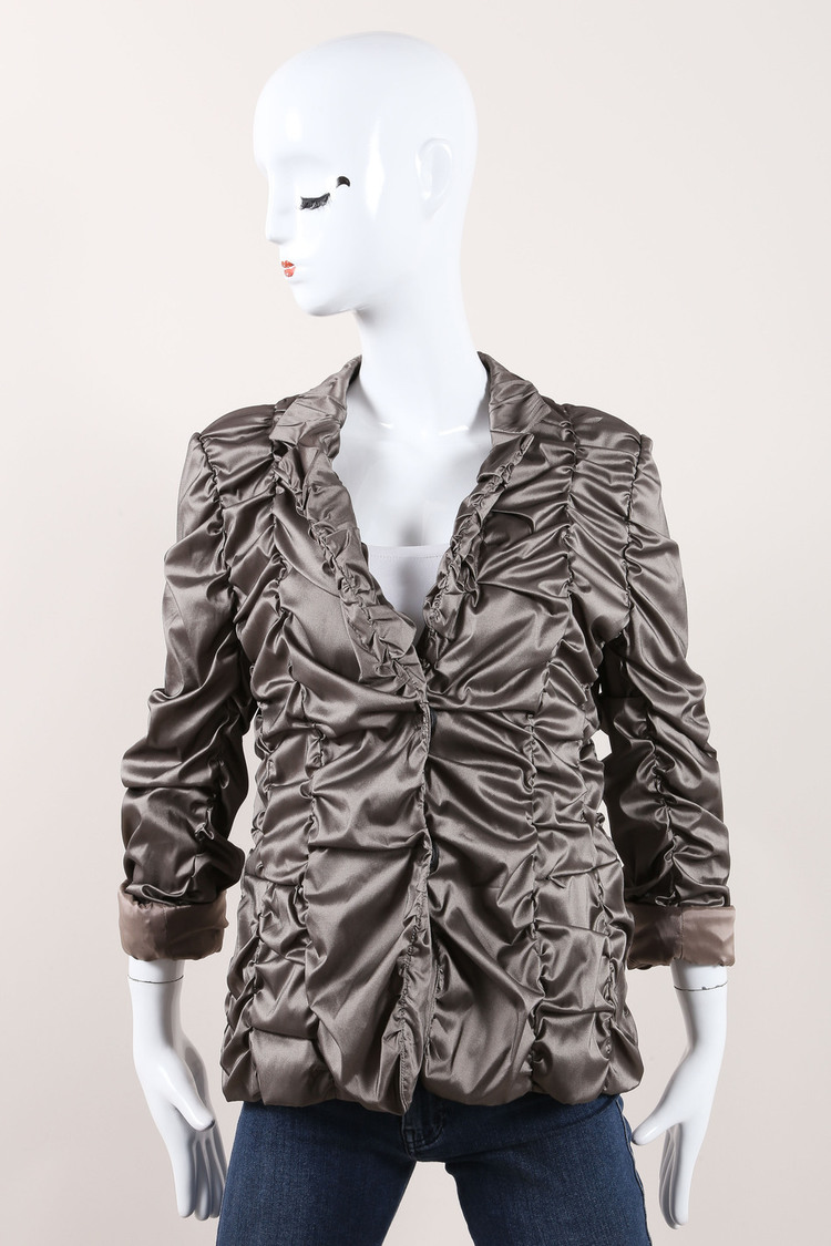 NWT  Gray Metallic Scrunch Jacket SZ 40
