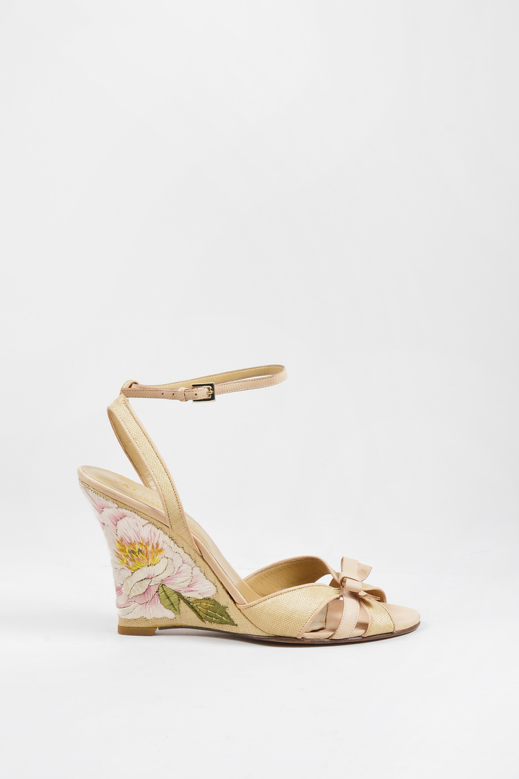 Tan Leather & Raffia Floral Embroidered Ankle Strap Wedges SZ 40