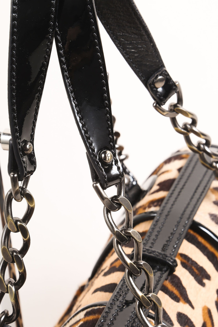 "Black Brown Patent Leather Leopard Pony Hair ""B."" Double Buckle Flap Bag"