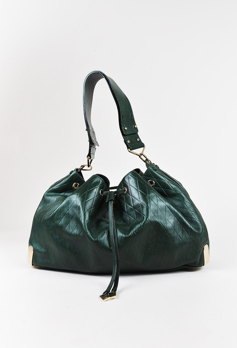 Dark Green Leather Embossed Shoulder Bag