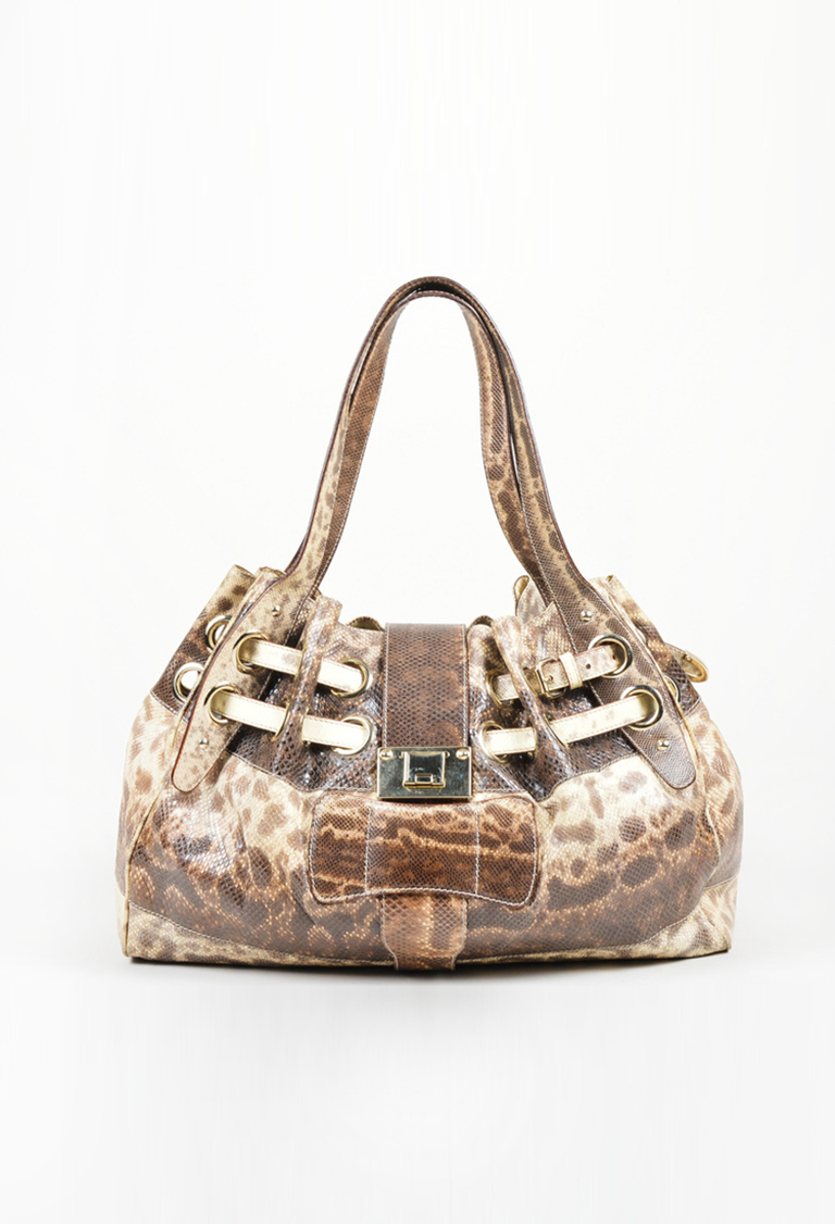 "Beige Brown Snakeskin Leather Gathered ""Ramona"" Shoulder Bag"