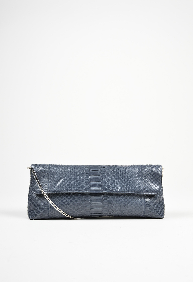 Blue and Silver Tone Python Chain Flap Clutch Bag
