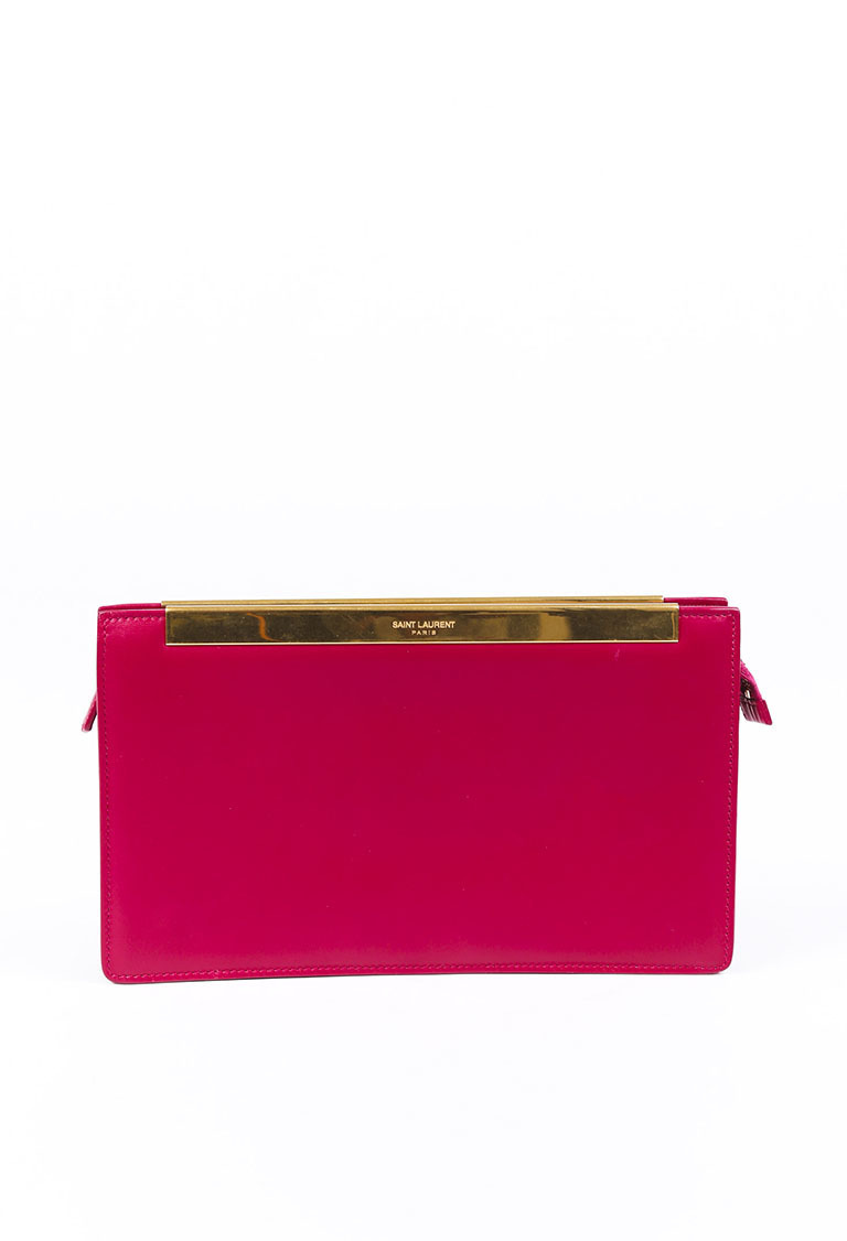 Magenta Pink Gold Tone Leather Lutetia Box Clutch Bag