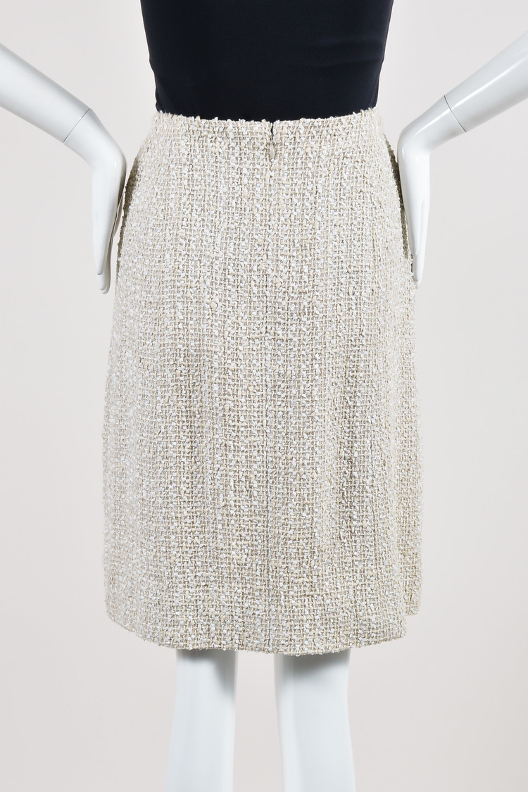Chanel 99P Cream Woven Tweed Knee Length A Line Skirt SZ 40