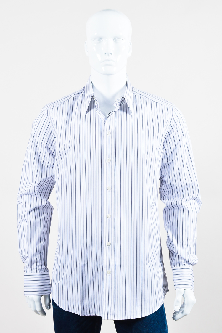 Mens dolce gabbana nwt white black striped slim fit for Striped button up shirt mens