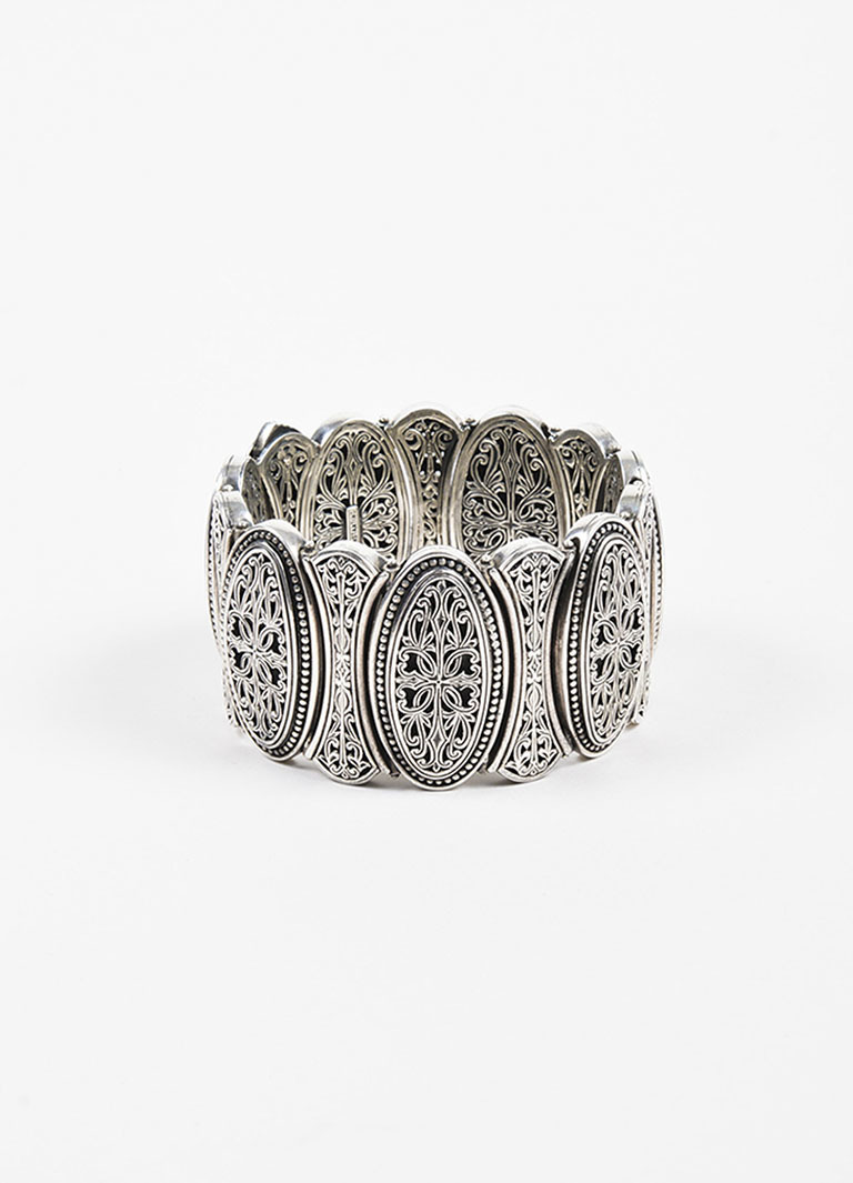 Sterling Silver Filigree Etched Wide Oval Link Bracelet