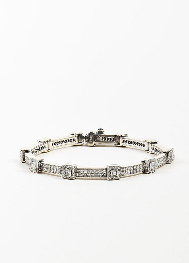 "18K White Gold & Diamonds ""Flamme Blanche"" Tennis Bracelet"