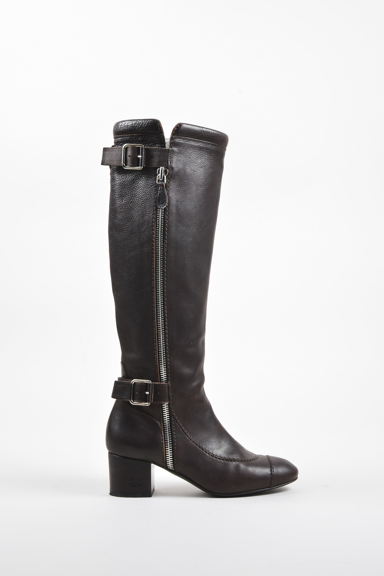 Brown Leather Dual Buckled Knee High Cap Toe Boots SZ 39.5