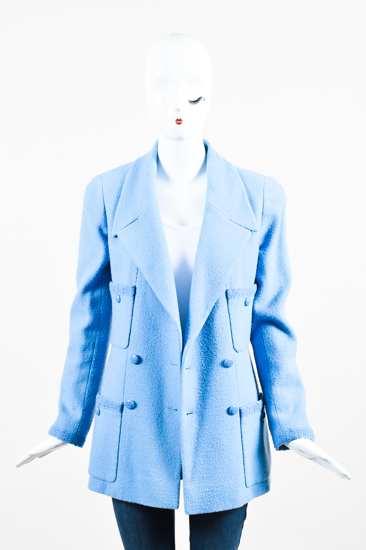 Boutique Baby Blue Wool Double Breasted Four Pocket LS Jacket SZ 40