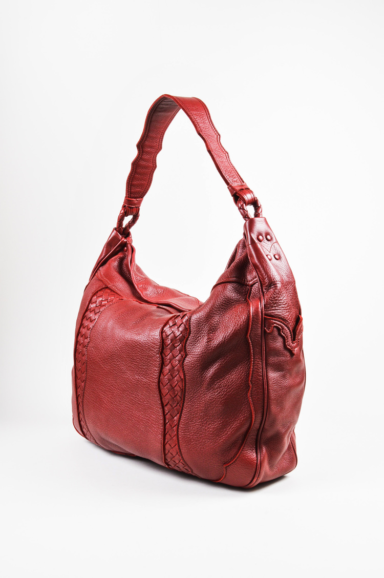 Red Leather Woven Trim Oversized Hobo Tote Bag