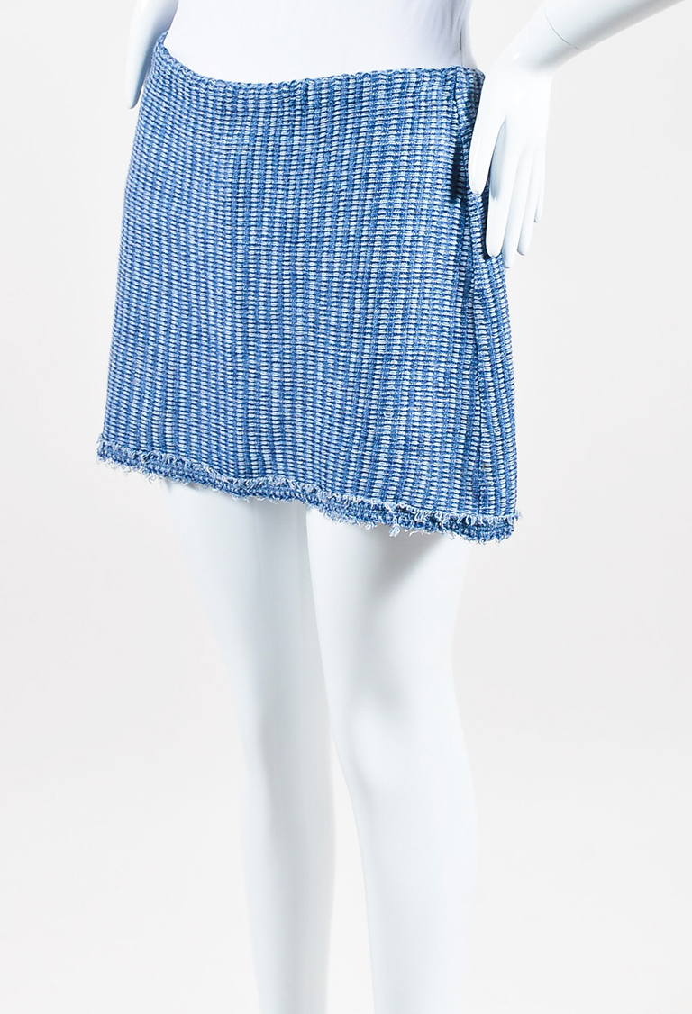 Blue Hemp Cotton Knit Frayed Edge Mini Skirt