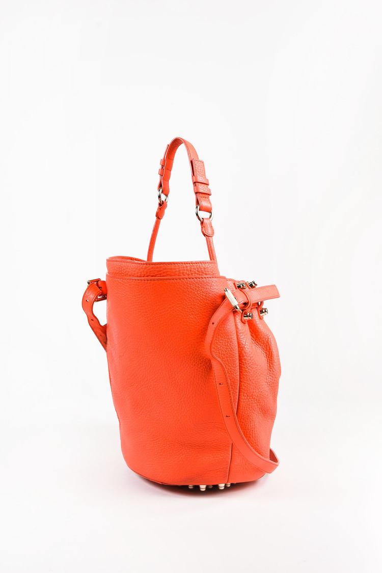 "Coral & Gold Tone Leather Studded Small ""Diego"" Bucket Bag"