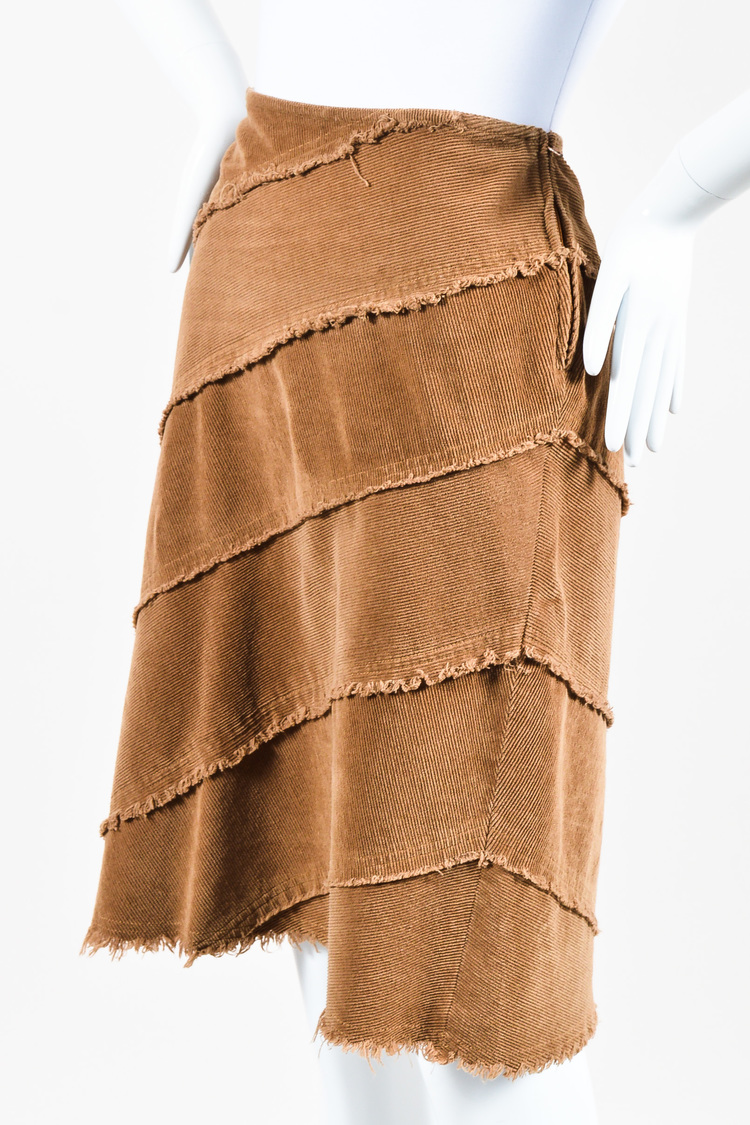 Jeans Brown Corduroy Fringe Trim Skirt