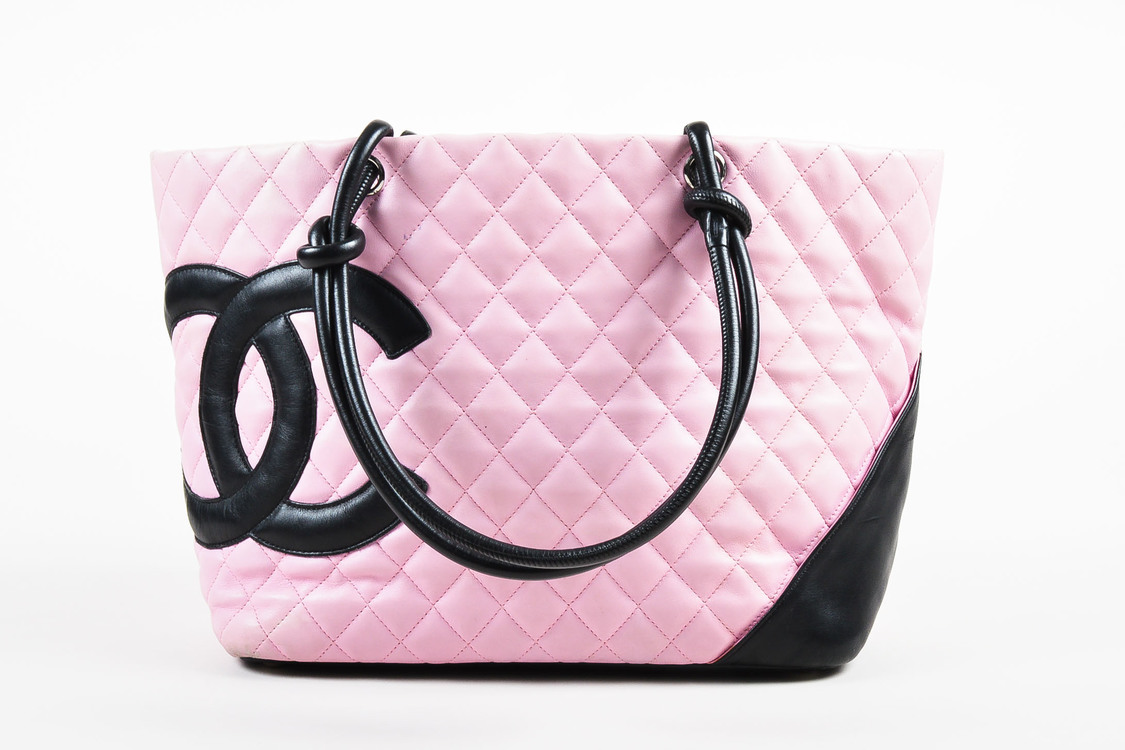Chanel Light Pink Quilted Leather Black CC Trim Ligne Cambon - What is an invoice paypal chanel online store