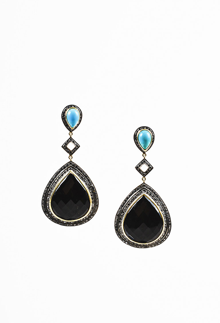NWT  Sterling Silver 14k Gold Black Onyx Turquoise Diamond Drop Earrings