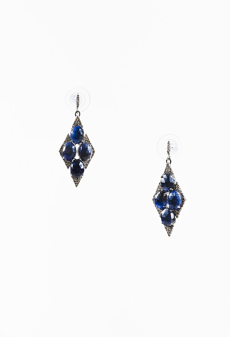 NWT  18K White Gold Sapphire Diamond Embellished Marquise Drop Earrings