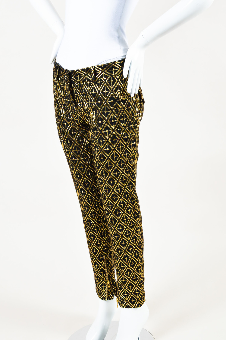 NWT Black Gold Diamond Printed Jacquard Skinny Leg Pants SZ 38