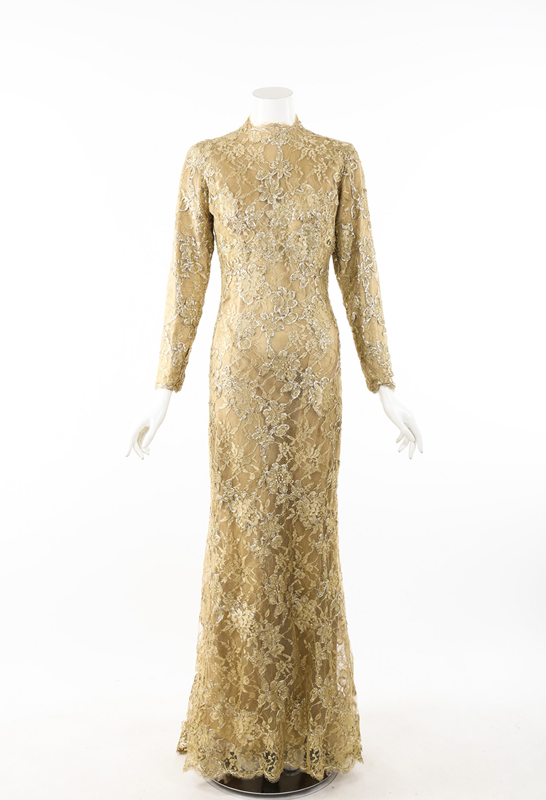 Zuhair Murad Haute Couture Metallic Gold Lace High Neck LS Evening ...
