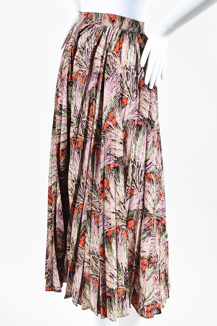 NWT  Multicolor Silk Floral Print Pleated Maxi Skirt SZ 6